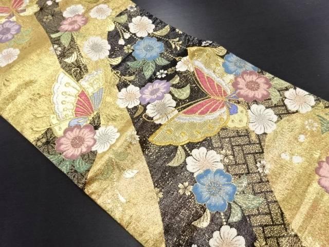 金糸蝶に枝垂れ花模様織り出し袋帯【リサイクル】【中古】