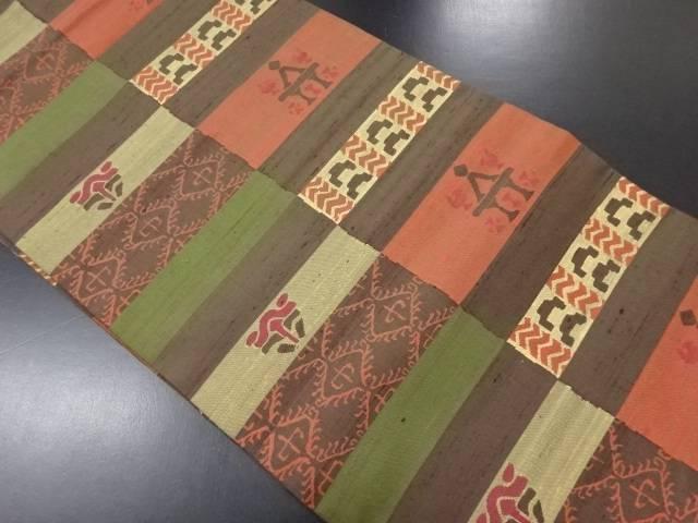 手織り紬変わり横段に抽象更紗模様織り出し名古屋帯【リサイクル】【中古】