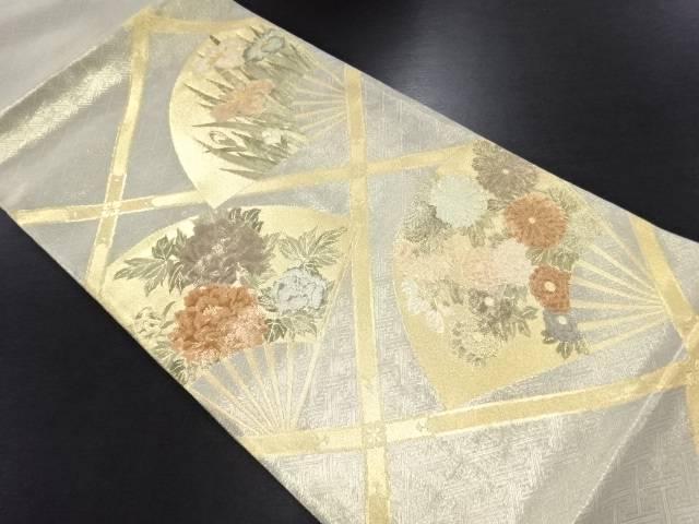 佐賀錦扇に菖蒲・牡丹・菊模様織り出し袋帯【リサイクル】【中古】