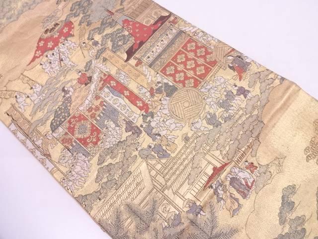 本金箔祭り風景模様織出し袋帯【リサイクル】【中古】