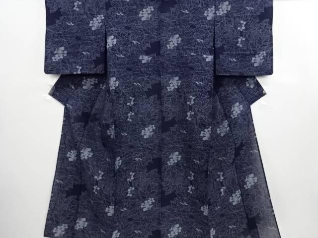 紗紬葉尽くしに花模様織り出し着物【リサイクル】【中古】