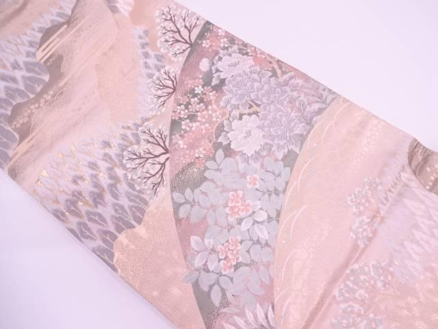 純金二重箔山並みに樹木・草花模様織出し袋帯【リサイクル】【中古】