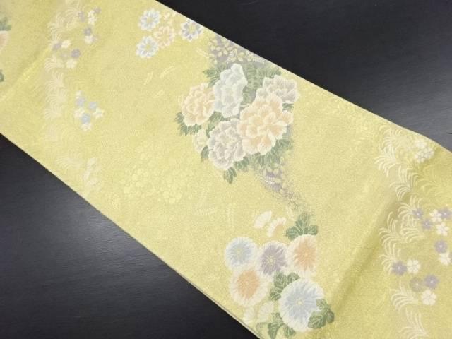 金糸 牡丹に菊・桔梗模様織り出し袋帯【リサイクル】【中古】