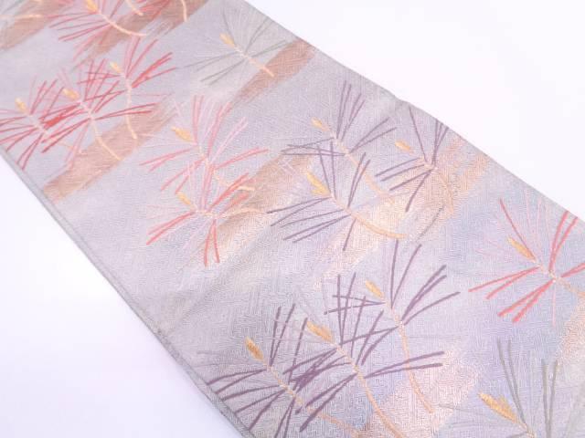 霞に若松模様織出し袋帯【リサイクル】【中古】