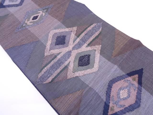 未使用品 ぜんまい紬重ね菱に抽象模様織出し全通袋帯【リサイクル】【中古】