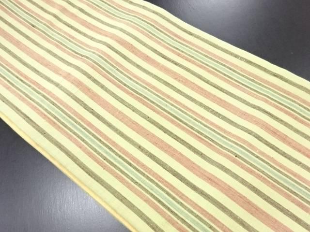 手織り真綿紬縞織り出し全通袋帯【リサイクル】【中古】