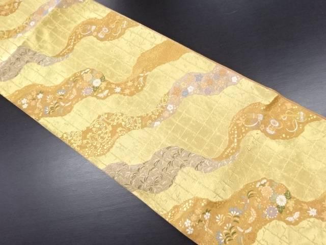 服部織物製 本金道長取に花鳥和楽器模様織り出し袋帯【リサイクル】【中古】