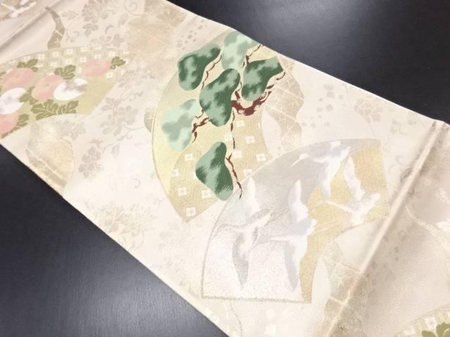 本金箔地紙に松・万寿菊模様織り出し袋帯【リサイクル】【中古】