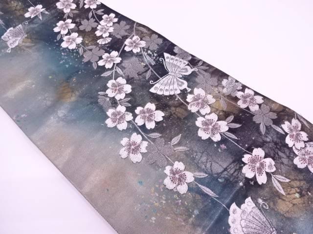 岡文織物製 引箔枝垂れ桜に蝶模様織出し袋帯【リサイクル】【中古】