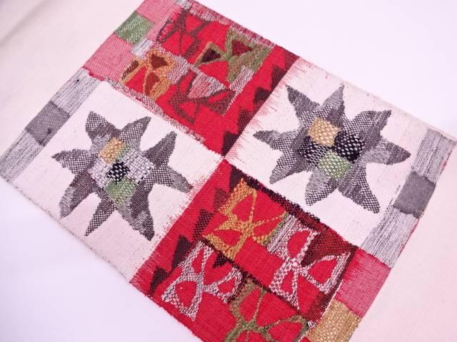 手織紬市松に抽象花模様織出し名古屋帯【リサイクル】【中古】