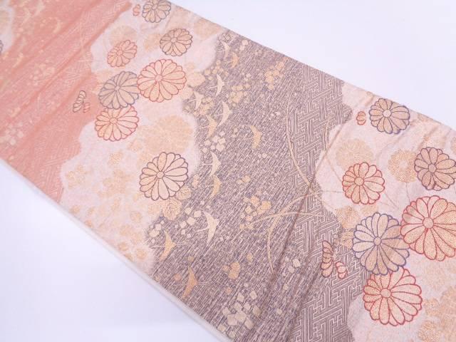 菊に色紙散らし・群鶴模様織出し袋帯【リサイクル】【中古】