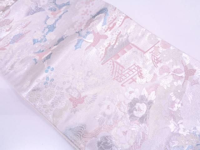 未使用品 プラチナ箔屋敷に松鶴・草花模様織出し袋帯【リサイクル】【中古】