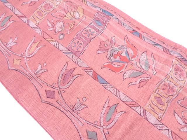 未使用品 縞に蝶・草花模様織出し袋帯【リサイクル】【中古】