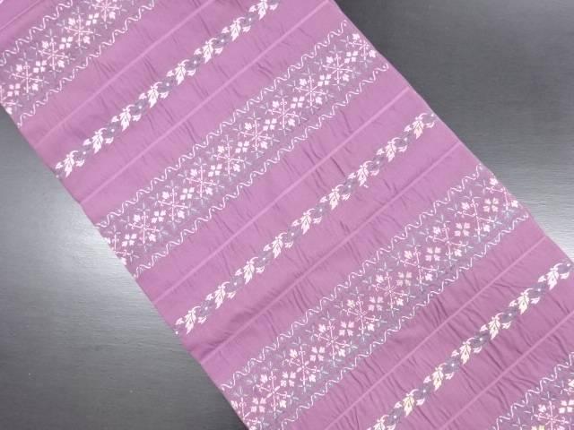 変わり織 横段に花更紗模様織り出し名古屋帯【リサイクル】【中古】