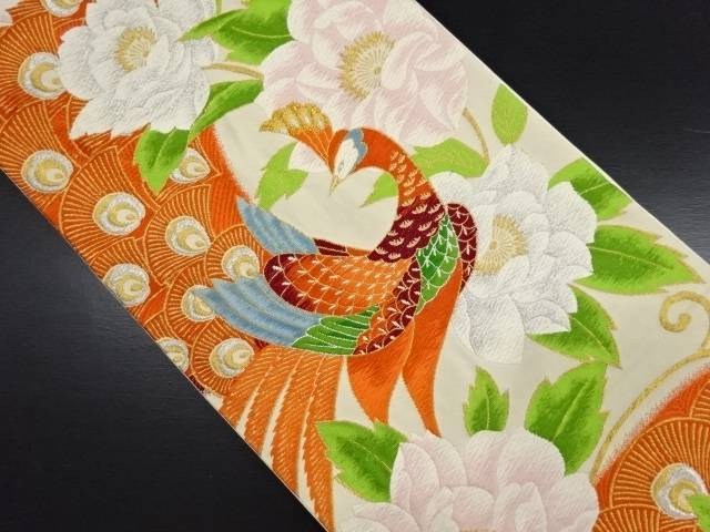 孔雀に花唐草模様織り出し袋帯【リサイクル】【中古】