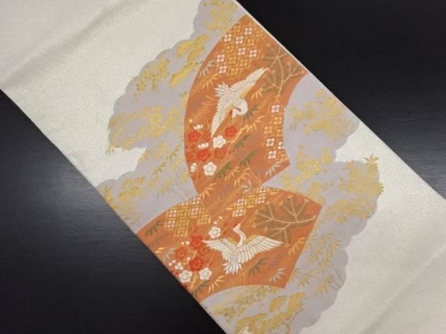 綴れ 地紙に鶴・松竹梅模様織り出し袋帯【リサイクル】【中古】