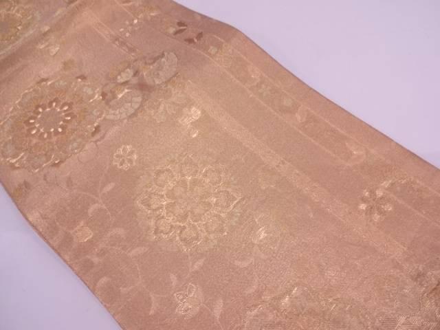 未使用品 縞に宝相華模様織出し袋帯(着用可)【アンティーク】【中古】