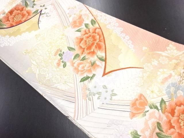 金糸華紋に草花模様織り出し袋帯【リサイクル】【中古】
