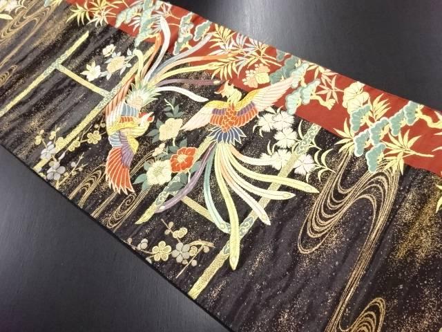 本漆箔鳳凰に椿・枝梅・松模様織り出し袋帯【リサイクル】【中古】