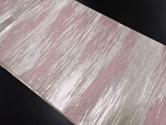 銀糸霞模様織り出し袋帯【リサイクル】【中古】