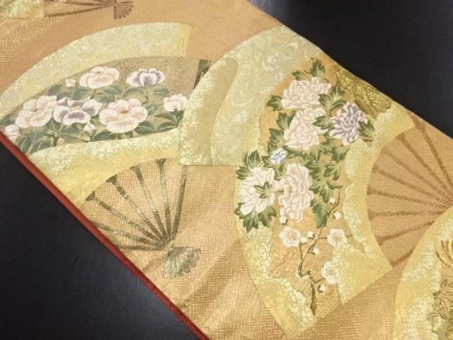 本金扇面に椿・牡丹模様織り出し袋帯【リサイクル】【中古】