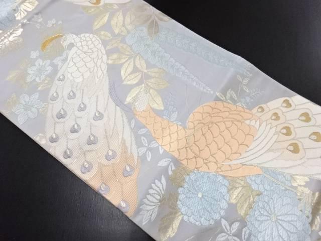 金銀糸孔雀に藤・菊・鉄線模様織り出し袋帯【リサイクル】【中古】
