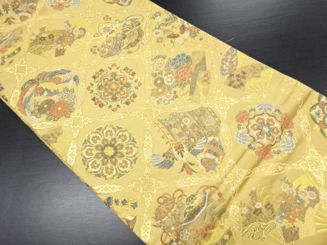 金糸格天井に華紋・鳳凰・和楽器模様織り出し袋帯【リサイクル】【中古】