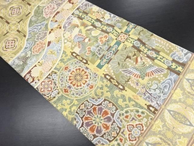 天井柄に華紋・花鳥模様織り出し袋帯【リサイクル】【中古】