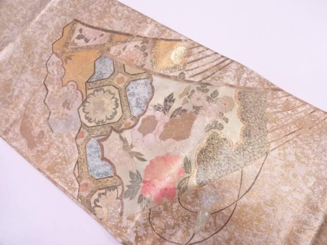 森正織物製 引箔螺鈿扇に牡丹模様袋帯【リサイクル】【中古】