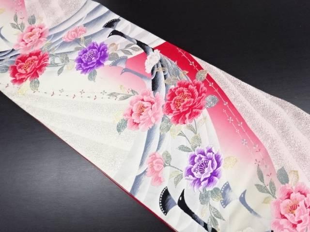 孔雀に牡丹模様織り出し袋帯【リサイクル】【中古】