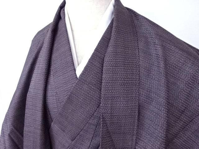 男物大島紬100亀甲茶泥アンサンブル 着物【リサイクル】【中古】