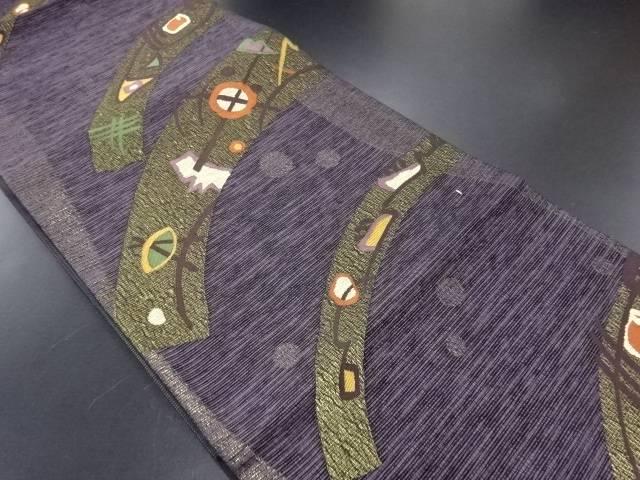 紙布織京草木染抽象模様織り出し袋帯【リサイクル】【中古】