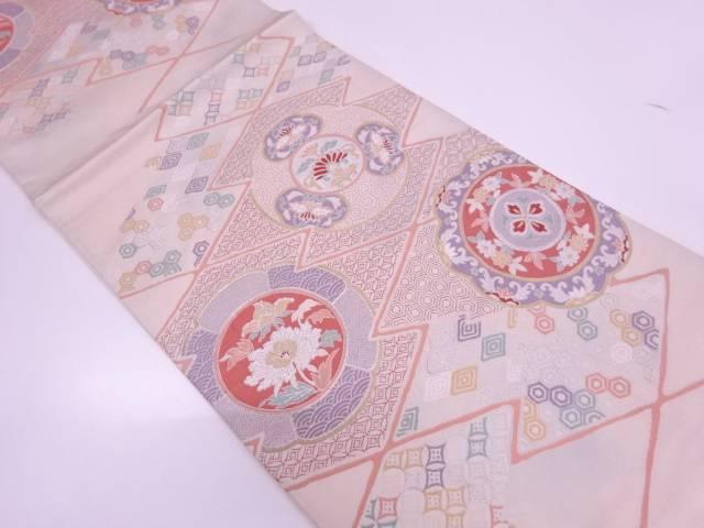 絵皿に草花模様織出し袋帯【リサイクル】【中古】