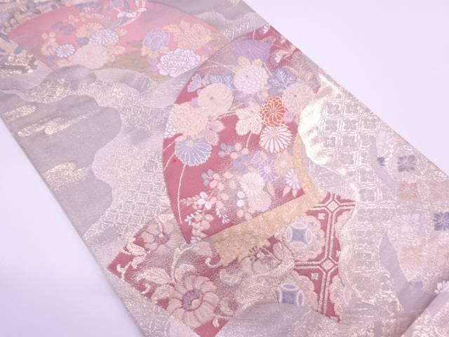 純金箔二重織地紙に草花模様織出し袋帯【リサイクル】【中古】