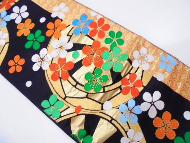 源氏車に花模様織出し振袖用袋帯【リサイクル】【中古】