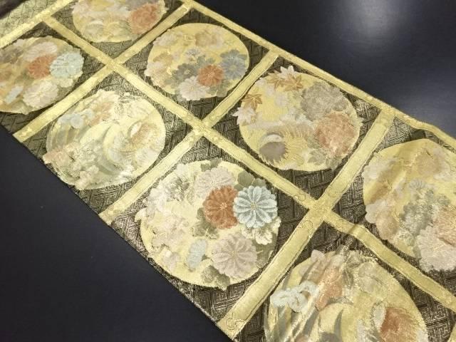 佐賀錦格天井に花鳥模様織り出し袋帯【リサイクル】【中古】