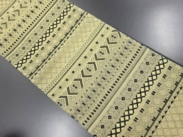 金糸横段に更紗模様織り出し袋帯【リサイクル】【中古】