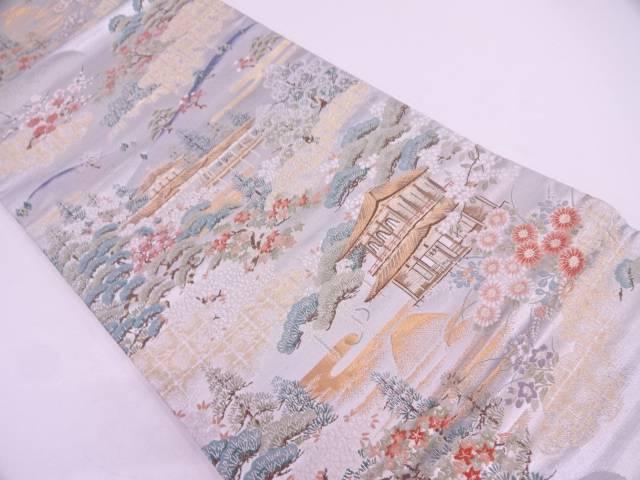 銀閣寺風景模様織出し袋帯【リサイクル】【中古】
