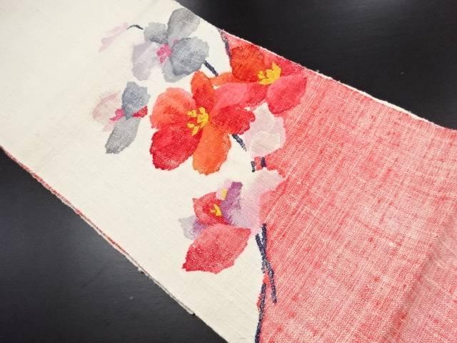 未使用品 手織り真綿紬花模様織り出し名古屋帯【リサイクル】【中古】