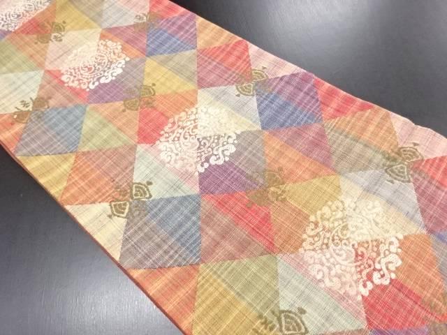 手織り紬華紋織り出し洒落袋帯【リサイクル】【中古】