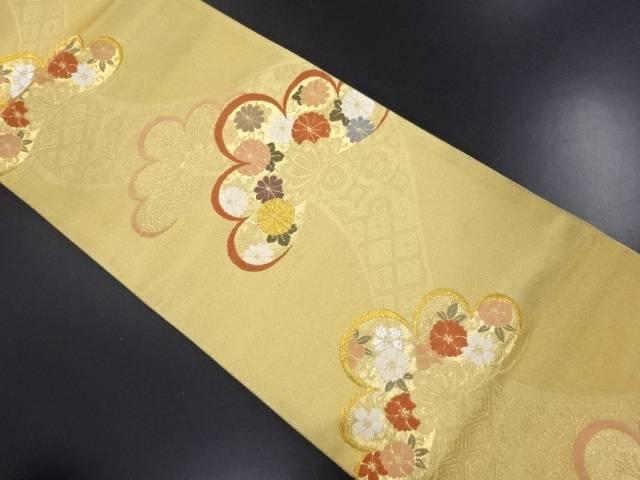 金糸笠松に八重桜・菊模様織り出し袋帯【リサイクル】【中古】