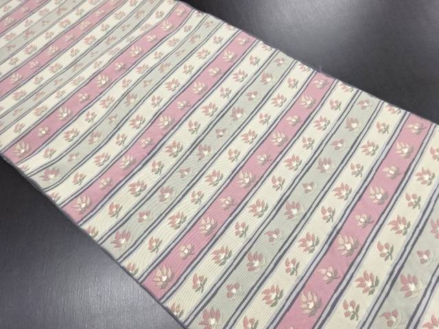 横段に花模様織り出し袋帯【リサイクル】【中古】