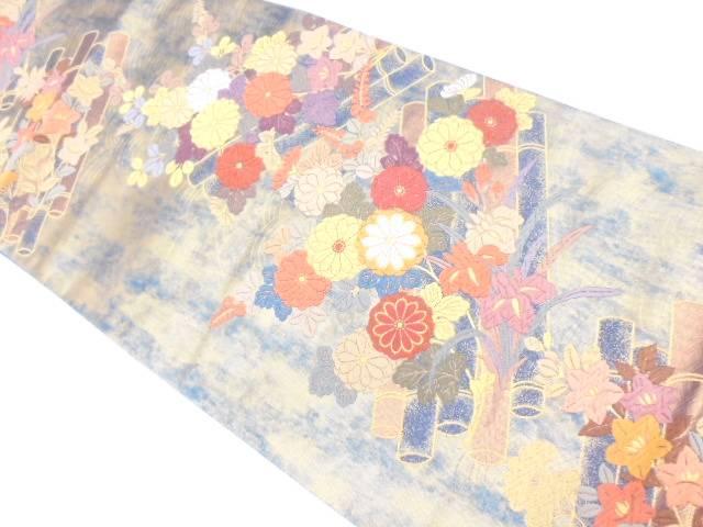 引き箔花筏模様織出し袋帯【リサイクル】【中古】