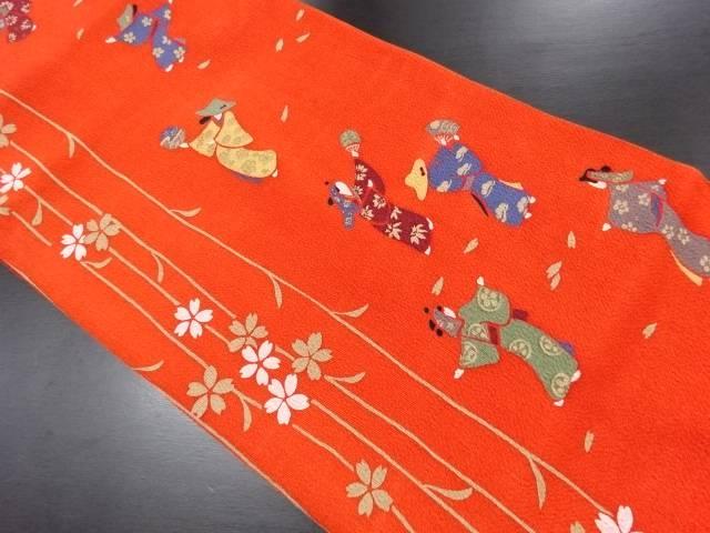 縮緬地枝垂れ桜に踊り模様名古屋帯【リサイクル】【中古】