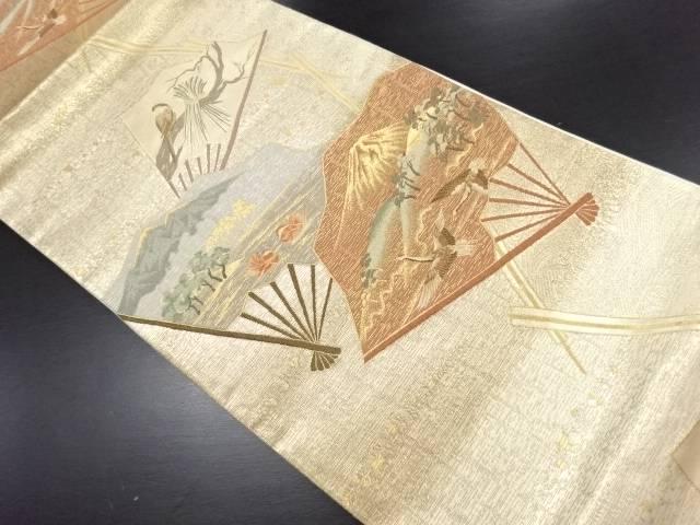 本金箔扇面に富士・鶴・鴛鴦・風景模様織り出し袋帯【リサイクル】【中古】