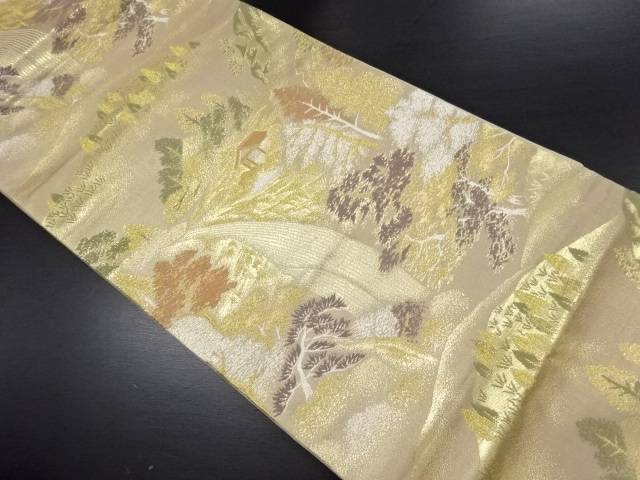 金糸 滝に山小屋風景模様織り出し袋帯【リサイクル】【中古】