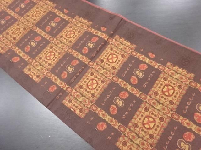 花縞に色紙・抽象模様織出全通袋帯【リサイクル】【中古】