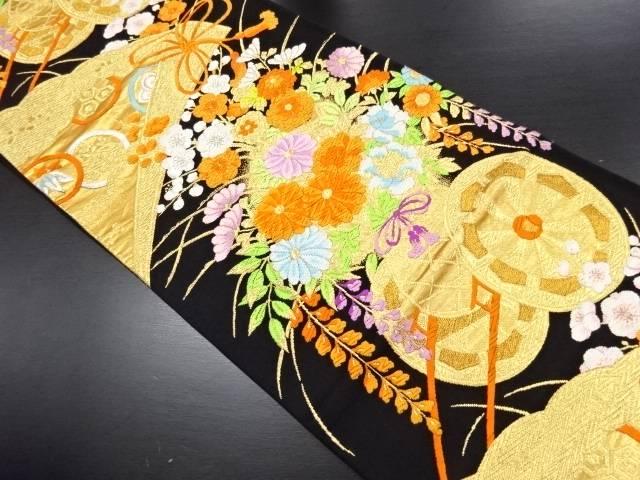 本金 桧扇に花車模様織り出し袋帯【リサイクル】【中古】
