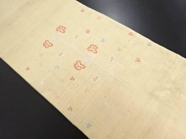 生紬刺し子枝椿模様刺繍名古屋帯【リサイクル】【中古】