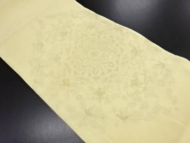 汕頭蘇州刺繍華紋に花鳥更紗模様袋帯【リサイクル】【中古】